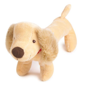 14 inch L - Long Plush Golden Squeaker Toy with a red collar - $15