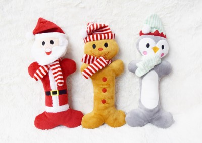 15 inch - Plush Santa, Gingerbread Man, Or Penguin with scarf & squeakers- $10 each